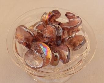 10 pc set of Amethyst Purple Iridescent Lampwork Glass Beads - 18-20mm - Handmade - Filler, Accent, Spacer - Carnival Glass