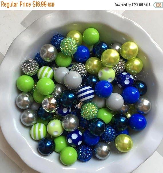 "SALE 100 {20mm} ""Seahawks: Lime Green, Royal Blue, & Silver/Gray"" Chunky Bubble Gum Bead Themed Bead Lot **Read Item description before purc"