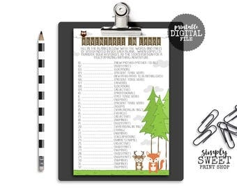 Woodland Baby Shower Adventures In Labor Mad Lib Game Forest Animals Fox Deer Raccoon Squirrel Owl Trees Camp Great Adventure 2 Per Page PDF