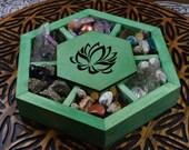 Lotus Center Lid Hexagon Meditation Box