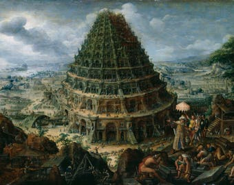 Marten van Valckenborch the Elder: The Tower of Babel. Fine Art Print/Poster (004725)
