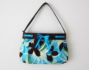 Vintage small bag / Hand bag / Blue bag / Floral bag / Vegan leather and cotton bag / Faux leather bag / Spring Summer bag / Cute pretty bag
