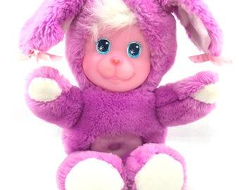 Vintage 1990 Magic Nursery Pet Purple Bunny Plush Stuffed Animal VGUC