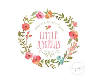 Premade logo with watercolor floral wreath, great for baby business boutique, baby or children shop logo design,