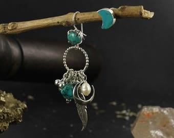 Asymetrical earrings - Boho earrings - Dreamcatcher earrings - Feather earrings - Sterling silver earrings - Handmade