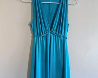 70s Nightgown, Goddess, Vanity Fair, Blue, Teal, Satin, 1970s, Long, Maxi, Vintage Lingerie, Womens Vintage Clothing, Size 32, Size Small