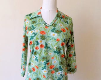 70s Floral Top, Green, V Neck, Wide Collar, 1970s, Top, Size 14, Womens Vintage, Vintage Blouse, Fall, Autumn