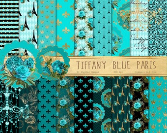 Tiffany Blue Paris Digital Paper, teal and gold French patterns, baroque ornament, fleur de lis scrapbook paper, France backgrounds