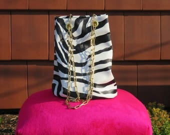 Original and sophisticated Zebra effect faux leather bucket bag handmade by me