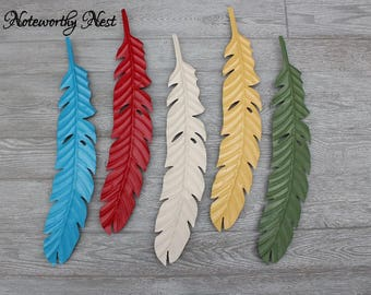 ANY COLOR Large Feather Wall Decor / Feather Wall Art / Red Feather / Feather Wall Hanging / Metal Feather / blue feather / green feather
