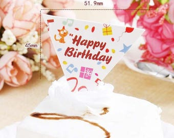 25pcs HAPPY BIRTHDAY Cupcake Toppers