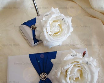 Guestbook and Royal blue pen holder with artificial roses to customize color choice