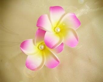 Double fuchsia plumeria flower hair barrette clip
