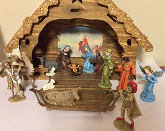 Vintage nativity scene from Italy. Fold up cardboard Creche. Folding Christmas Scene.