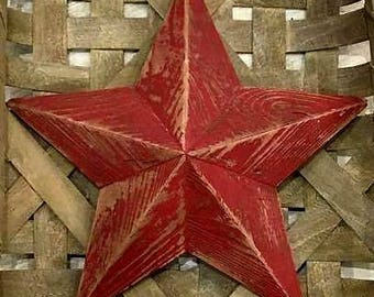 12 inch wooden red star made from reclaimed wood