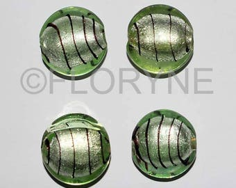 4 beads roller Style Murano silver foil glass beads