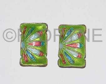 2 cloisonne beads 19 X 12 X 5mm 2 rows of green Rectangle
