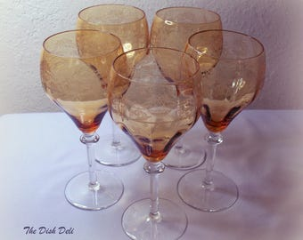 Amber Etched Goblets Optic Vintage Mid Century (Set of 5)