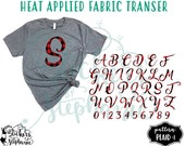 IRON ON Amarillo Script Monogram Letters Letter Number (Plaid-1) RED Buffalo Plaid Vinyl  T-Shirt Fabric Transfer Decal
