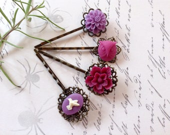 Lavender And Lace Hummingbird, Owl And Floral Hair Clips