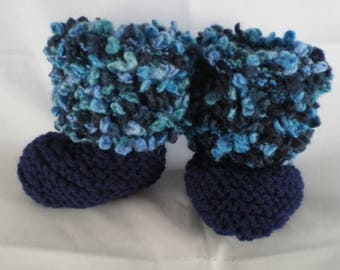 Chaus012 - Navy Blue boots and Heather blue