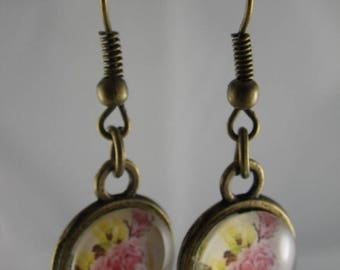 Boucles031 - Earrings bronze and pink flower cabochon