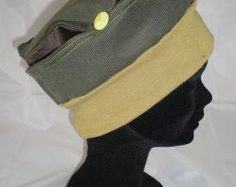 Bas054 - Green and chocolate velvet chemo Hat