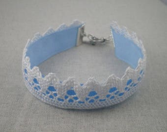 Bra020 - Blue sky and white lace Bracelet