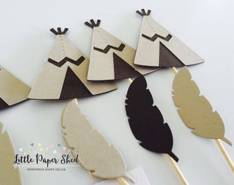 Handmade Cupcake Toppers - Tribal Brown and Kraft Theme x 12