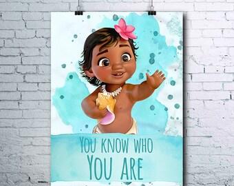 Baby Moana - Moana Birthday - Moana Print - Moana Poster - Disney - Maui Print - Maui Poster - Moana Printables - Moana Art - Moana Posters