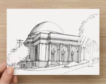Ink Sketch of The Lighthouse at Mission Dolores Park in San Francisco, California - Drawing, Art, Dome, Architecture, Pen and Ink, 5x7, 8x10