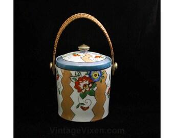 1920s Ice Bucket - Authentic Art Deco Icebucket with Lid - Peach Lustre Blue Orange Green - Woven Swivel Handle - 1920's Barware - R2107