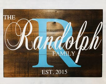 Family Teal Initial Sign - Last Name Sign - Family Name Sign - Family Established Sign - Wooden Family Sign - Wedding - Christmas Gifts
