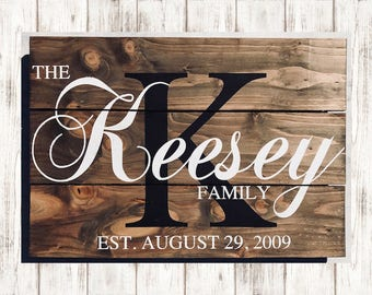 Family Initial Sign - Family Name Sign - Last Name Sign - Family Established Sign - Wood Wall Art - Anniversary - Wedding - Wall Hanging