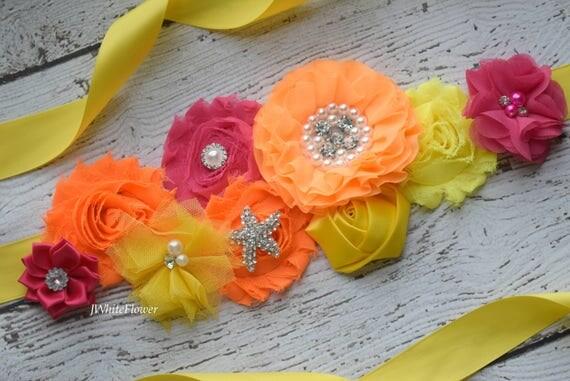 Maternity sash belt, orange hot pink yellow Sash, beach sash,  flower Belt, maternity sash, baby shower gift
