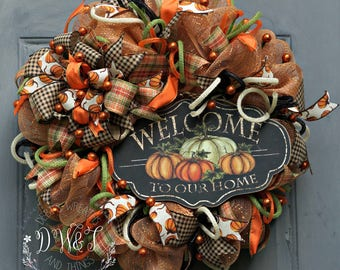 Welcome Wreath, Fall Wreath, Pumpkin Wreath, Fall Decor, Pumpkin Decor, Autumn Wreath, Autumn Decor, Fall Deco Mesh Wreath, Welcome Decor