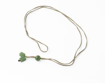 Tan Cord with Canadian Nephrite Jade Beads