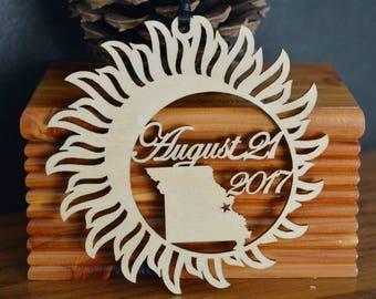 Missouri Solar Eclipse  ornament wood cut decoration. Laser cut Total Solar Eclipse ornament Path of Totality through Missouri