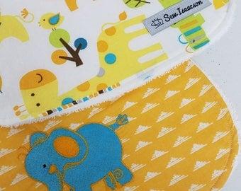 Baby bib and burp cloth,  Baby shower gift,elephant  bib, elephant  burpcloth, zoo animal bib, coordinating embroidered  burp cloth