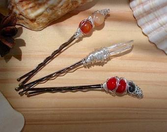 Mermaid Hair Accessory Set of 3 / Variety Gemstone Hair Pins / Boho Gypsy Wedding Hair Pin / Fairy Goddess Hair Pin / Gemstone Hair Pins
