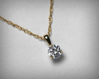 Diamond Necklace Pendant, Genuine Diamond Pendant Necklace, 14K Yellow Gold, 14K White Gold Natural Solitaire Diamond Necklace Jewelry Third