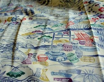 JPI - Vintage Japanese Kimono Silk Fabric **Stream**