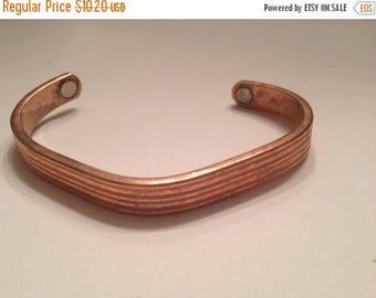 SALE Vintage Copper Cuff Bracelet Magnets Southwestern Healing Boho Jewelry