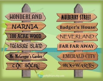 Assorted Fictional Places Arrow Signs / Narnia / Wonderland / Printable Wooden Photo Props / School Decors / PDF Digital / Instant Download
