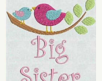 50 percent OFF Instant Download Machine Embroidery Fonts Designs Big Sister Birds Announcement 4 x 4 PES Format Exclusive