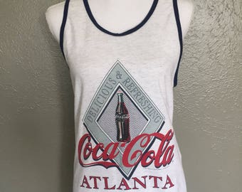 Old School Coca Cola Atlanta Tank Top Men's Size Small 1993 Coke Factory Rad Clean