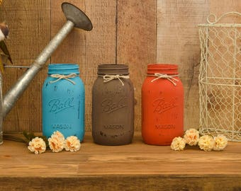 Painted Jar Set - Rustic Centerpiece - Rustic Wedding Decor - Country Wedding Decor - Western Decor - Rustic Decor - Wedding Centerpieces