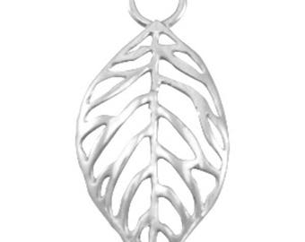 "DQ Metal Pendant ""sheet""-1 piece-32 x 16 mm-Zamak-color selectable (color: silver)"