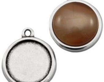 DQ Metal pendant with socket and eyelet-F. Ø 12 mm Cabochons-1 piece-Zamak-gilded or silver plated-European designer quality-color selectable (colour: silver)