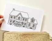Mini Custom House Drawing (Color or Black and White), Custom House Portrait, Home Drawing, Housewarming Gift, House Drawing from Photo